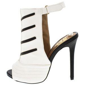 Gizelle Black & White Peep Toe Sling Back Heels